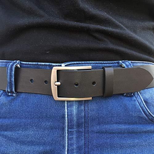 Büffelleder Ledergürtel Herrengürtel Gürtel Schwarz -8- echt Leder, bis 140 cm, 4 cm breit, Handmade
