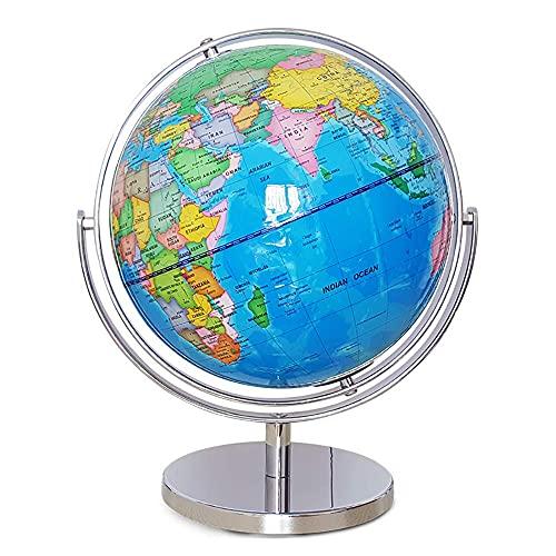 WZMPH Globo de Spinning de Escritorio para el Mundo Educativo Globo para los Amantes de la geografía Globo de Escritorio Decorativo 720 ° Geografía de Tierra giratoria,Azul