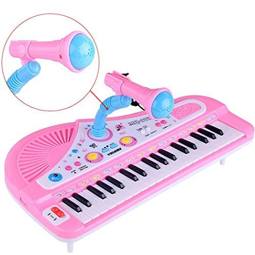Bascar Klavier Für Kinder Multifunktions Tragbares Musik Elektronisches Kinderklavier 37 Tasten Musikunterricht Tastatur Piano Keyboard Für Kinder Frühes Lernen Lernspielzeug für Anfänger (Rosa)