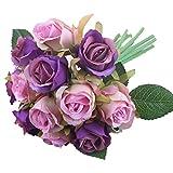 Folewr-8 Fleurs Artificielles Lot de 12 - Simulation Rose Bouquet Cadeau De La Saint Valentin pour Décoration Maison Mariage