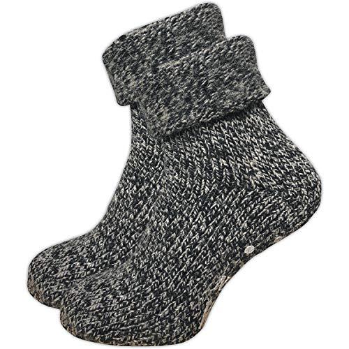 GAWILO 1 Paar Damen Stoppersocken – ABS Socken – Wollsocken – ohne drückende Naht – kuschelige Innenfrottee – ideal bei kalten Füßen (35-38, anthrazit melange)