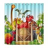 LB 150x180cm Duschvorhang Lustige Dinosaurier Wasserdicht Antischimmel Polyester Badezimmer Vorhänge mit 10 Haken,Karikatur Tier für Kinder