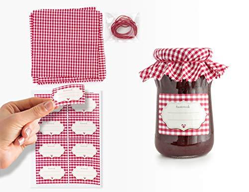 Readyprint Set Decorativo per Marmellate Fatte in casa, Copri barattoli in Stoffa, Etichette, Elastici, Kit per 8 Decorazioni (Rosso).