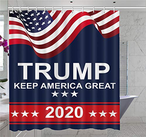 American President Donald Trump 2020 Make Keep US America Great Polyester Shower Curtain, Waterproof Polyester Fabric, US Election Patriotic Bathroom Shower Curtain, 60X72 inch