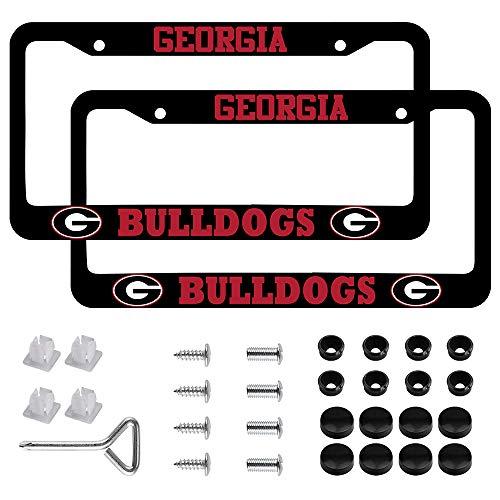 Car License Holder for Georgia College Bulldogs License Plate Frames – Black Aluminum – 12.5' x 6.5' University of Georgia UGA Bulldogs License Plate Holder