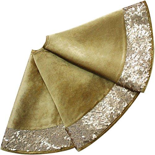 Sorrento 50' High quality Velvet Christmas Tree Skirt glitter sparkle luxury Sequin border gold