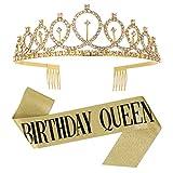 tao pipe Corona Cumpleaños Cinturón de Cumpleaños'Birthday Queen'Tiara Corona de Diamantes de Imitación Decoración de Fiesta de Cumpleaños de Niña Regalo de Cumpleaños(Oro)