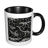 Taza de café de cerámica brillante del dinosaurio, taza de té para la oficina y el hogar convenientes para la microonda