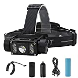 WindFire Healdamp 5000 High Lumens Ultra Bright, 5 LED Head Work Light with Magnet,Type-C USB Rechargeable Headlamp Detachable, Waterproof, Durable, Best for Camping,Working,Repairing,Hiking.