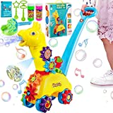 IRISVO Bubble Machine for Kids, Bubble Cart Push Toys for Toddlers and Baby, Automatic Bubble Blower with Dinosaur Projection and Music, Value Bubble Machine Gift for Birthday & Festival