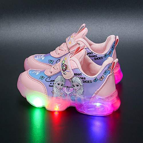 DTZW Zapatillas de correr con luz LED para niñas, transpirables, informales, al aire libre, intermitentes, deportivas, para niños, ligeras, talla 25, color: rosa