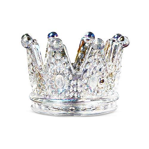 Mousyee Portavelas Cristal, Portavelas Candelabro de Corona de Cristal Adorno de Candelero...