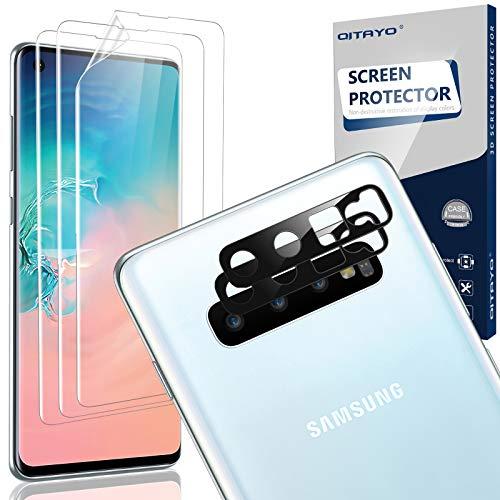 QITAYO Kamera Panzerglas+Schutzfolie für Samsung Galaxy S10, Samsung Galaxy S10 Kamera Panzeglas,TPU Folie Displayschutzfolie für Samsung S10, Unterstützen Fingerabdruck-ID[nicht für Samsung S10 5G]