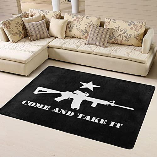 Texas Come and Take It Flag Area Rugs Super Soft Carpet Doormat Front Door Mat Entrance Rug Home Decorator Suitable for Patio Living Room Bathroom 63 x 48 in