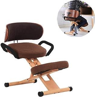 Mengsi Kneeling Chair Ergonomic Posture Work Desk Stool for Bad Backs Support Adjustable Computer Desk Chair with Backrest and Handles