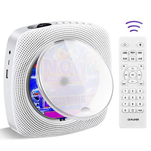 Lecteur CD portable, montage mural - Bluetooth - Boombox - Haut-parleur HiFi - Radio FM - Lecteur de musique USB MP3 - Prise casque auxiliaire 3,5 mm - Pour enfants.