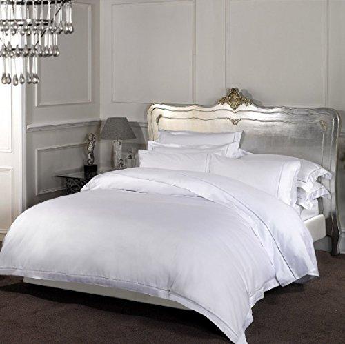 Dorchester 100% Percale Duvet Cover Bed Linen-1000 Thread Count, Cotton, White, Double
