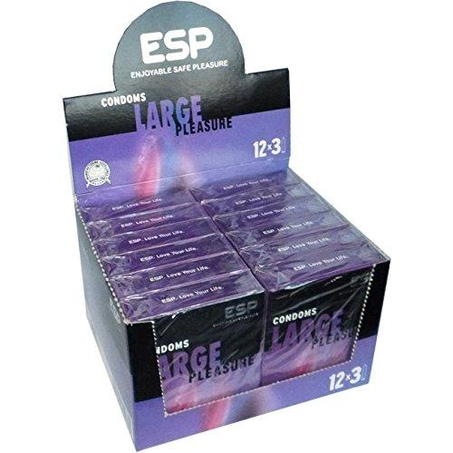 ESP Large, 12x3 grote condooms met 56mm bredte, veganistisch gemaakt, speciale aanbieding