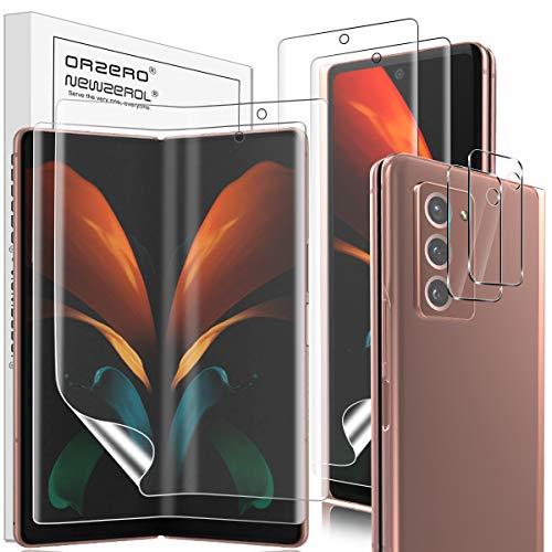 NEWZEROL 2 Pezzi Pellicola Protettiva + 2 Pezzi Fotocamera Pellicola per Samsung Galaxy Z Fold 2 5G TPU 3D da Bordo A Bordo Proteggi Schermo Morbido[Copertura Completa]