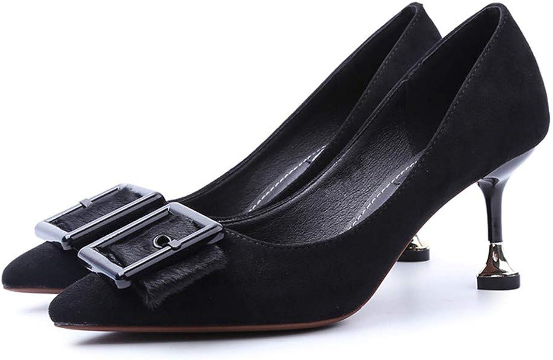FLYRCX Elegante Temperament Hochzeit Schuhe Frühling und Herbst Stilett wies High Heels Mode Wildleder Schuhe