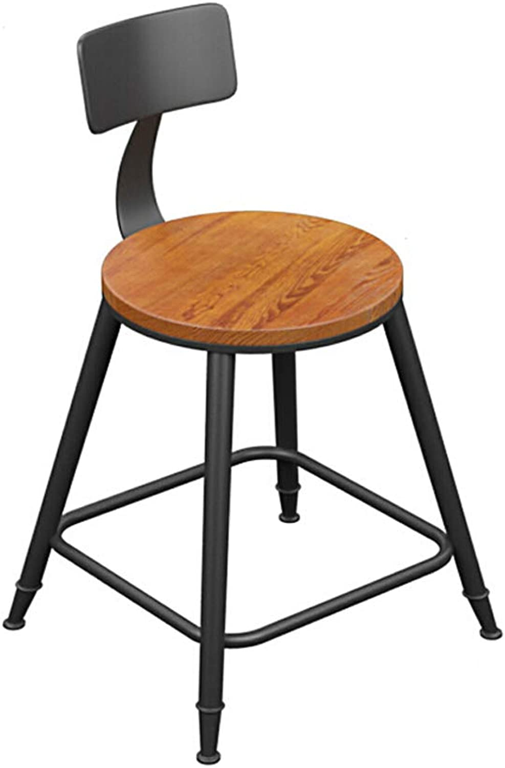 Bar Stool Bar Stool Modern Minimalist European High Chair Solid Wood Wrought Iron Table and Chairs Bar Stool with Backrest Two Types (color   Wood, Size   85)