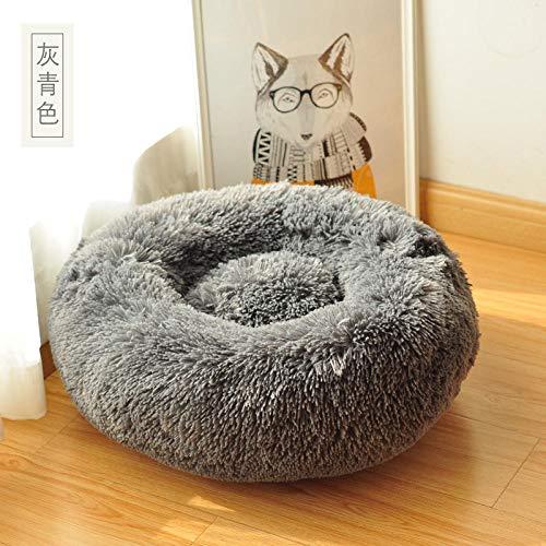 Cama para Mascotas, con una Alfombra Suave para Mascotas, Cama para Gatos Perros, Cama Suave de Felpa de tamaño Mediano -灰青色_S-30cm