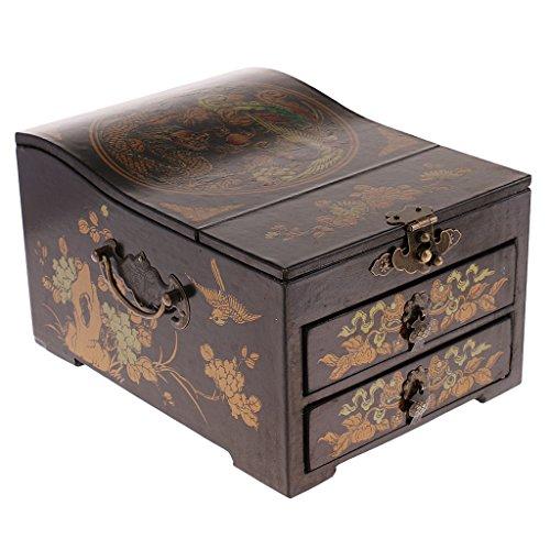 MagiDeal Antike Schmuckkästchen aus Holz | Schmuckkasten | Schmuckbox | Schmuckaufbewahrung mit Spiegel - Schwarz