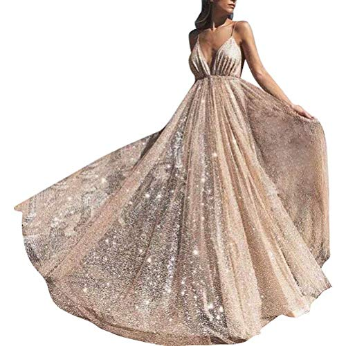 Women's Sparkling Deep V-Neck Prom Dresses Long Backless Tulle Formal Evening Gown(A-Gold 06)