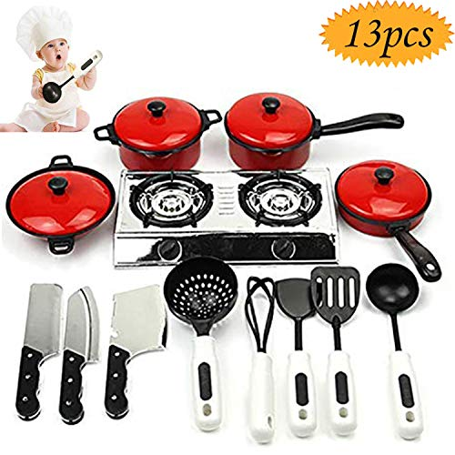 FUQUN 17 Pcs Pretend Play Kitchen Cookware Set Cooking Toy Cookware Playset Stainless Steel Pots /& Pans Bundle For Kids Childrens Role Play Set with Dress up Costume Waterproof Aprons