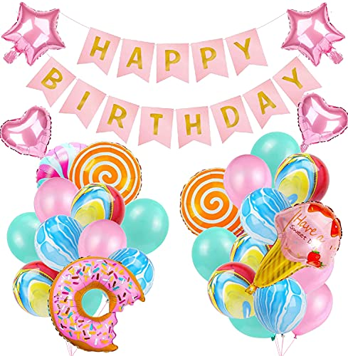 Decoraciones para fiesta de cumpleaños de niña Globos de cumpleaños de Candyland Donuts de caramelo Paletas de helado Globo de aluminio para decoraciones de fiesta de cumpleaños de niñas