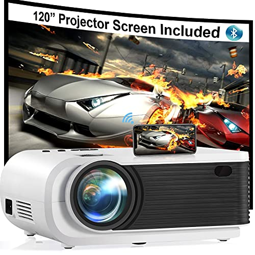 Mini Projector, JIFAR 6500L Movie Projector with 5G WiFi Bluetooth Function, Support 1080p for FHD Home Theater, Compatible with iPhone, Android, TV Stick, Games Console, Comes with Projector Screen