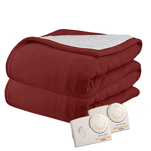 Pure Warmth MicroPlush Sherpa Electric Heated Blanket Queen Claret
