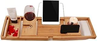 HEMFV バスタブトレイ 竹製 バスタブキャディー バスタブ 読書棚 ラック オーガナイザー スライド式サイドマグ/ワイングラス/電話ホルダー メタルフレームブック/パッド/タブレットホルダー