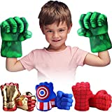 Toydaze Incredible Smash Fists Punching Gloves Plush Hands Stuffed Pillow Handwear, Kids Cosplay Costumes Gloves, Superhero Toys for Boys, Toddlers, Birthday, Halloween, Christmas Xmas Gifts, Green