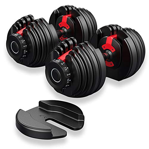 Foverós 52.5 lbs Adjustable Dumbbells Set, 5 to 52.5 Lbs Fast Adjusting Dial Weights, 15 Weights Adjustment with Handle and Weight Plate Set(A Pair)