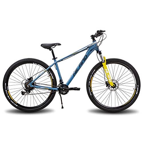 Hiland Bicicleta de montaña de aluminio de 29 pulgadas, 16 velocidades con desviador Shimano Lock-Out, horquilla de suspensión, freno de disco hidráulico, marco de 431 mm/482 mm.