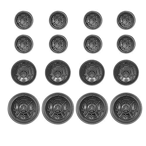 Chunyu ボタン ブレザー ボタン メタルボタン レトロなボタン DIY手作り用品 ドレスアクセサリー 16個 (ブラック)