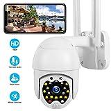 PTZ Dôme Caméra de Surveillance WiFi Extérieure, Caméra IP HD Optique Audio Bidirectionnel Vision Nocturne APP Alerte Hotspot AP, Sonore et Légère Intimidation