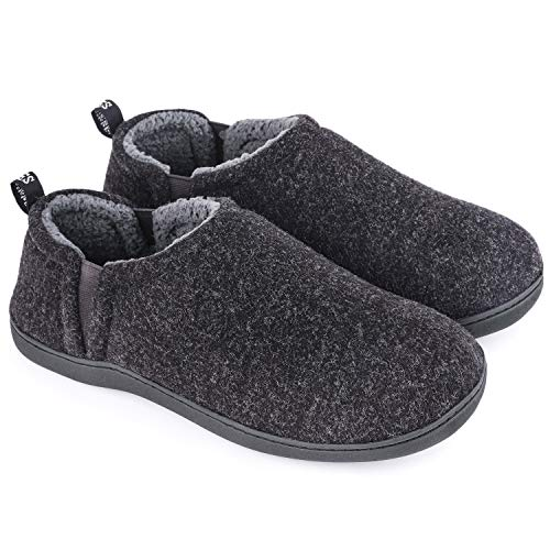 Snug Leaves Men's Fuzzy Wool Felt Memory Foam Slippers Anti-Slip Warm Winter Faux Sherpa Indoor Outdoor House Shoes with Dual Side Elastic Gores (Size 7-8 M, Dark Gray)