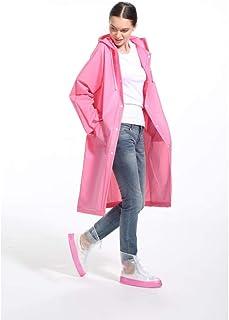 カップルロングファッションレインコートカジュアルマルチカラー軽量防水透湿性ポンチョ (色 : Pink, サイズ さいず : L l)