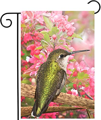 "laolang Spring Summer Hummingbird Bird Pink Floral Apple Flowers Garden Yard Flag 12""x 18"" Double Sided Polyester Welcome House Flag Banners for Patio Lawn Outdoor Home Decor"