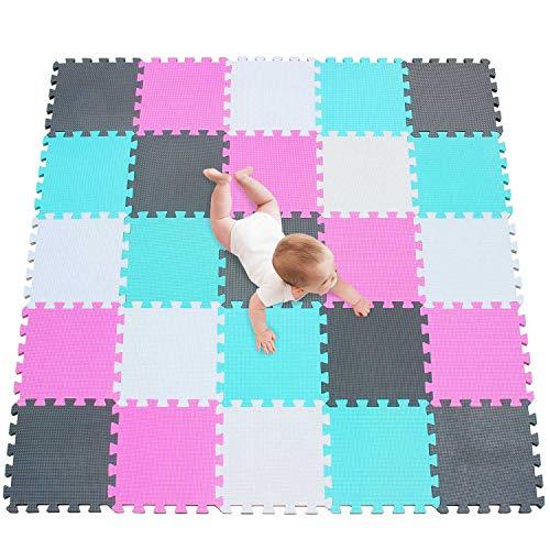 meiqicool Alfombra puzle 142 x 142cm Niños 25 Piezas Cuadrado Goma Espuma EVA,Alfombra Puzzle para Niños Bebe Infantil,esteras de Alfombra puzle para Niños Goma Espuma Blanco-Rosa-Turquesa-Gris