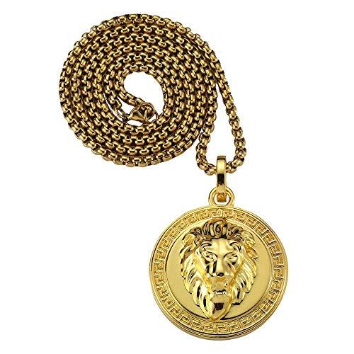 GUMONI Schmuck 18K Vergoldet Halskette mit Löwenkopf Anhänger für Herren Damen,70cm Kette,Gold