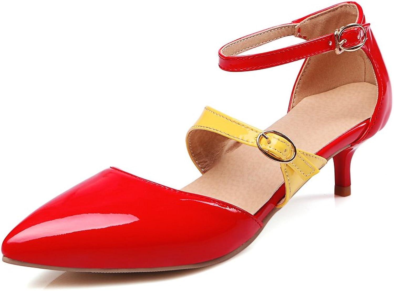 AIWEIYi Womens Round Toe Buckle Strap Stilettos High Heel Dress Sandals Black