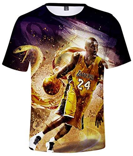 Silver Basic Camiseta de Verano de Moda para Niños Camiseta de Baloncesto Impresa en 3D Ropa Deportiva Camiseta de Manga Corta Camiseta Informal para Niños XS,Mamba-2