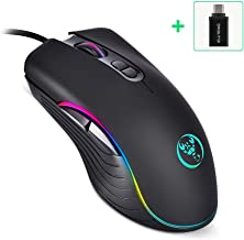 ELUTENG Gaming Mouse Wired, 7 Buttons, 6400 DPI Adjustable, Comfortable Grip Ergonomic PC Gaming Mouse, USB Optical Gaming Mice RGB Backlit with USB C to USB Adapter for Laptop PC Gamer