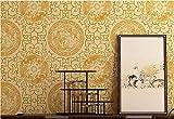 Papel pintado de PVC efecto 3D de color crema Nueva flor de tótem chino Papel pintado para Tabla Cocina Habitación Baño, Resistente al agua 0,53 x 9,5 m