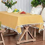 LUCKYHOUSEHOME Yellow and White Checkered Tassel Rectangular Tablecloth Cotton Linen Rural Home Kitchen Dinning Tabletop Table Cover 55 x 78 Inch