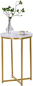 Mecor Modern Round Side End Accent Table with Faux Marble Table Top and Gold Metal Frame, Beside Sofa Table Nightstand for Living Room Bedroom, Easy to Assemble
