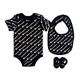 Champion Baby Infant 3-Piece Box Set includes body suit, bib and booties, All Over Script-Black 001, 0-6M